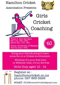 HAMILTON CRICKET GIRLS COACHING